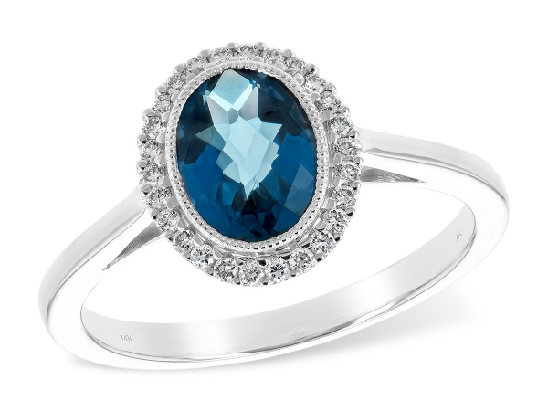 14KT Gold Ladies Diamond Ring - LDS RG 1.27 LONDON BLUE TOPAZ 1.42 TGW