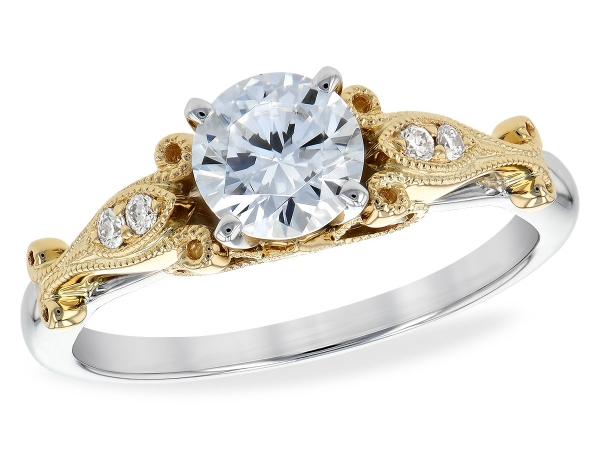 14KT Gold Semi-Mount Engagement Ring - LDS SEMI DIA RG .05 TW - HOLDS 0.75 CTR