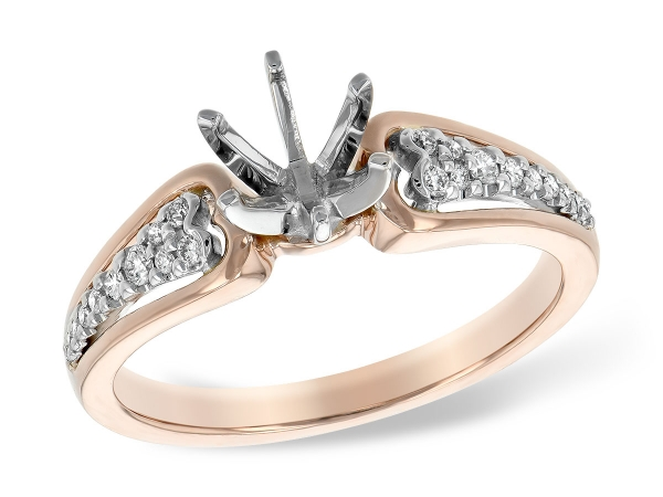 14KT Gold Semi-Mount Engagement Ring - LDS SEMI DIA RG .11 TW - HOLDS 0.75 CTR
