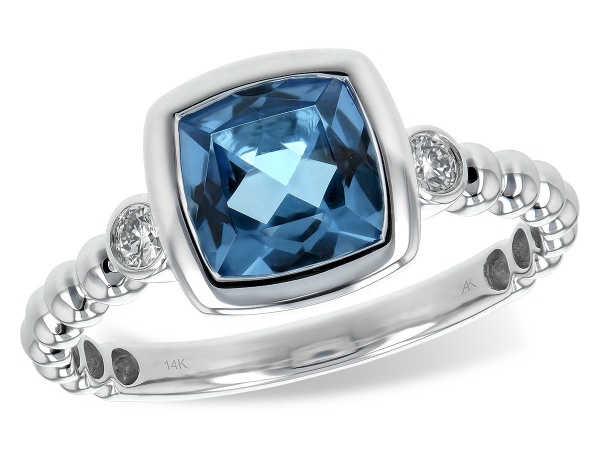 14KT Gold Ladies Diamond Ring - LDS RG 1.57 BLUE TOPAZ 1.65 TGW