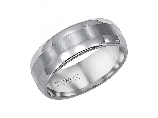 Orion - 8mm wide tungsten carbide wedding band with satin finished inlay.