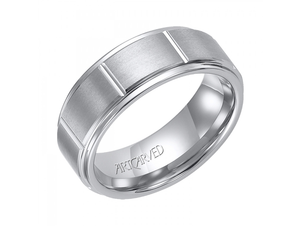 Logan - 8mm wide, white tungsten carbide, comfort fit wedding band with vertical grooves.