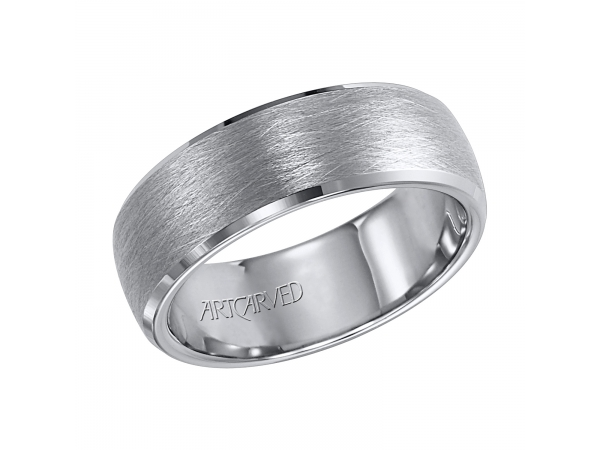 Vaughan - 7.5mm wide, tungsten carbide wedding band with wire brushed finish.