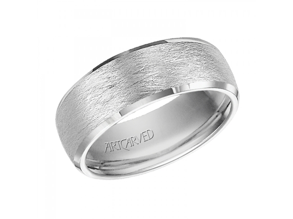 Vaughan - 7.5mm wide, white tungsten carbide wedding band with wire brush finish and beveled edges.