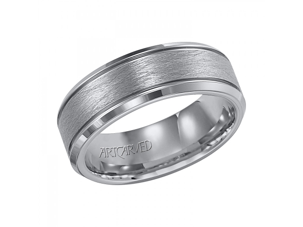 Curtis - 7.5mm wide, tungsten carbide wedding band with wire brushed inlay and beveled edges.