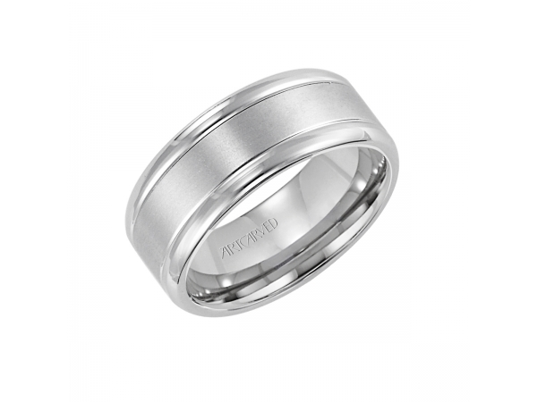 Bailey - 7mm wide, comfort fit engraved palladium band with platinum inlay.