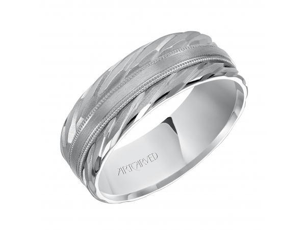 Delmar - 7.5mm wedding band with mate finish and a double rope designs with milgrain accent in the center.
