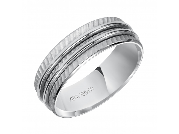 Lucas - 7.0mm wedding band with diagonal textural mate finish and two ridges in the center.