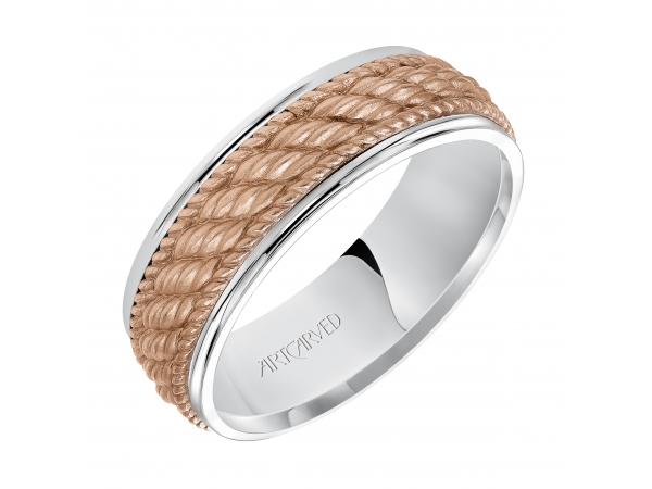 Owen - 7.0mm wedding band consisting of a woven center motif and flat bright rims.