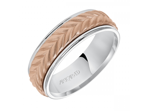 Santino - 7.0mm wedding band consisting of a woven center motif and flat bright rims.