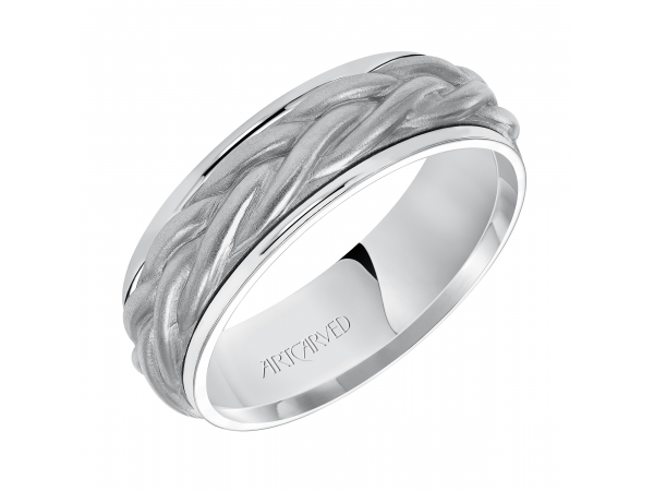 Mens Wedding Band - 7.0mm wedding band consisting of a rope center motif and flat bright rims.