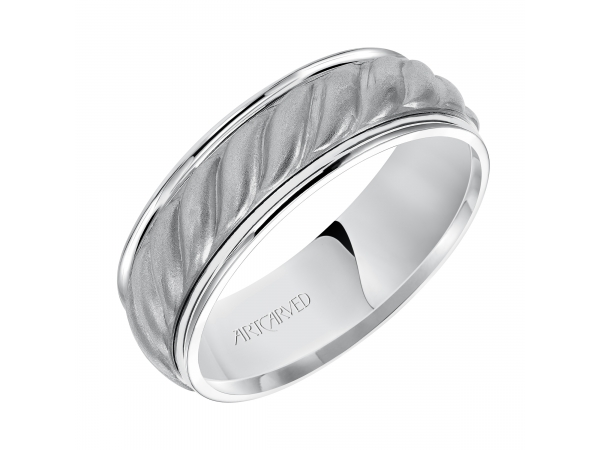 Jayden - 7.0mm wedding band consisting of a woven center motif and flat bright rims.