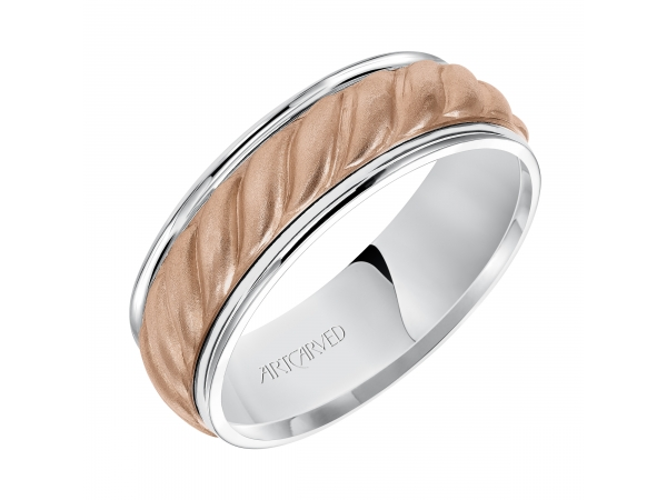 Jayden - 7.0mm wedding band consisting of a woven center motif and flat bright rims