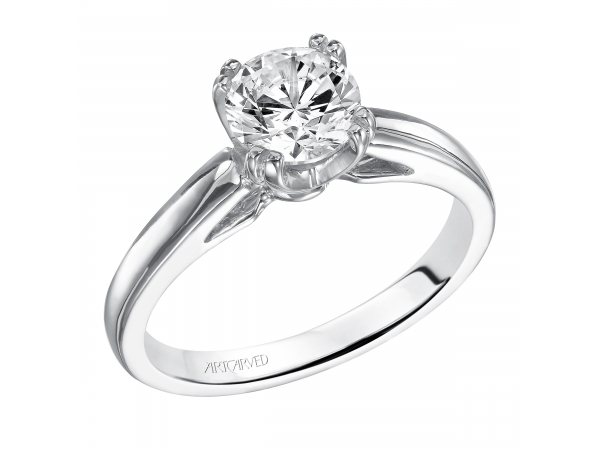 Dahlia - Diamond solitare engagement ring with round center stone and a split double prong setting.