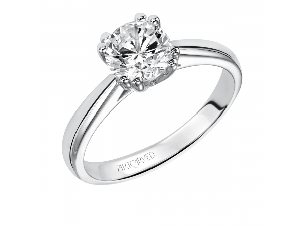 Cashe - Solitare diamond engagement ring with round center stone and split double prong setting.