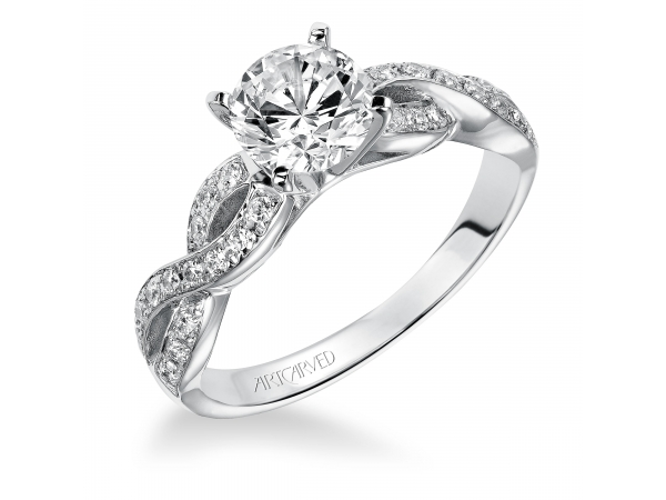 Gabrielle - Diamond engagement ring with round center stone and pave set diamonds.