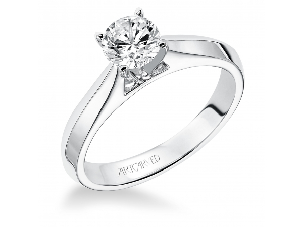 Pixie - Classic solitare diamond engagement ring with round center and knife edge band.