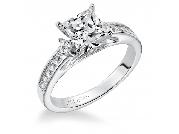 Elena - Diamond engagement ring with princess cut center, pave set diamonds in the band and under setting.