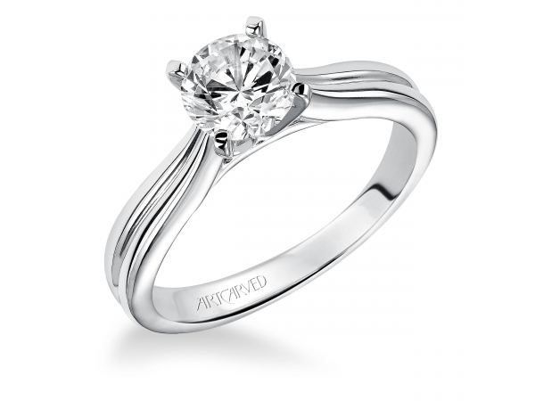 Irene - Solitare diamond engagement ring with round center stone.