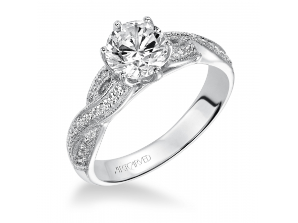 Calla - Diamond engagement ring with round center stone and diamond enhanced band.
