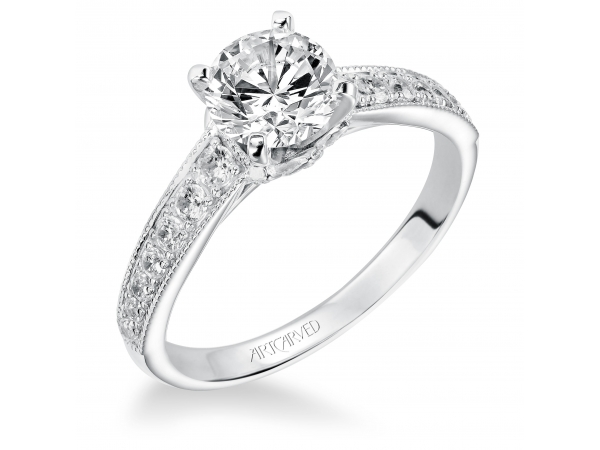 Amelia - Diamond engagement ring with round center stone and diamond enhanced band.