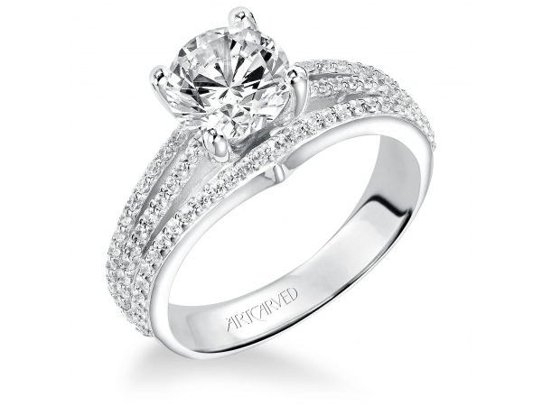 Elizabeth - Diamond engagement ring with round center stone and diamond enhanced band.