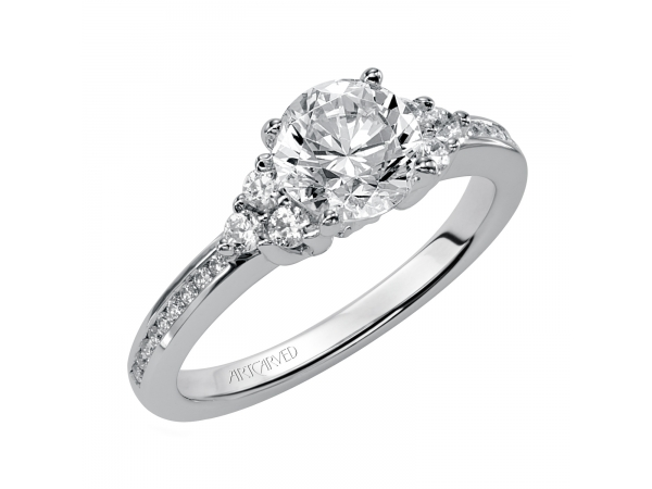 Kayla - Diamond engagement ring with round center stone and diamond enhanced band.