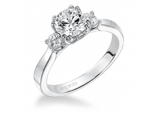 Amanda - Diamond three stone engagement ring with round accent stones.