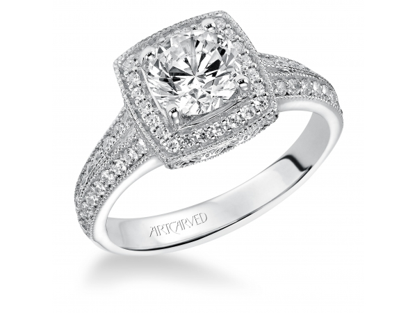 Gwyneth - Diamond engagement ring with round center stone and diamond enhanced band.