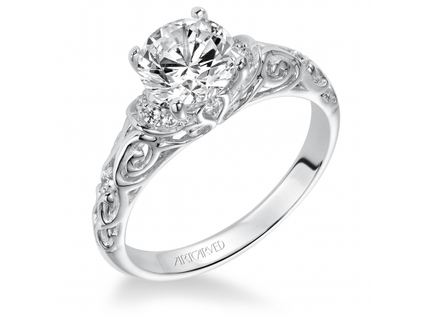 Peyton - Diamond engagement ring with round center stone and carved diamond enhanced band.