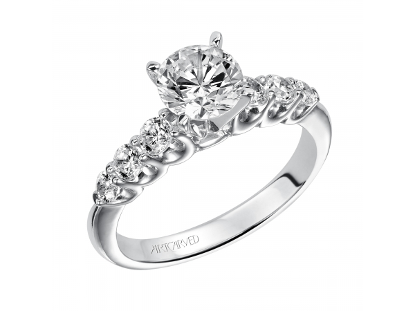 Maddie - Diamond engagement ring with round center stone and round side stones in the band.