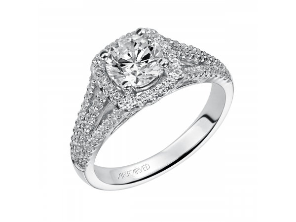 Ava - Diamond engagement ring with round center stone, round diamonds surrounding the center stone, and three rows of prong set diamonds in the band.