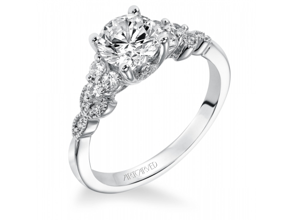 Adeline - Diamond engagement ring with round center stone and vine motif diamond enhanced shank.