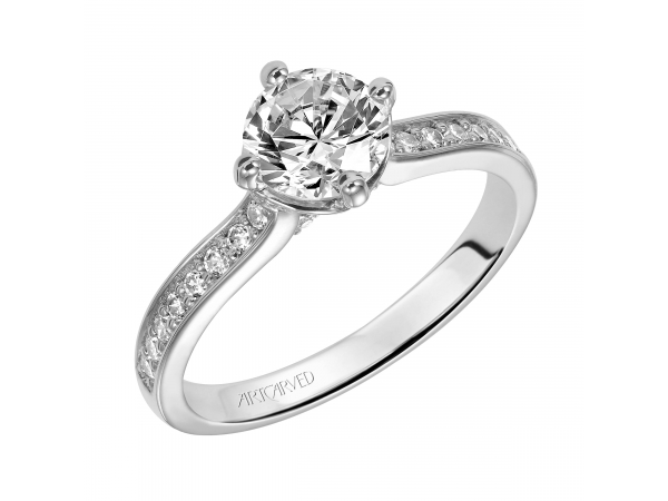 Juliet - Diamond engagement ring with round center stone and diamond enhanced band.