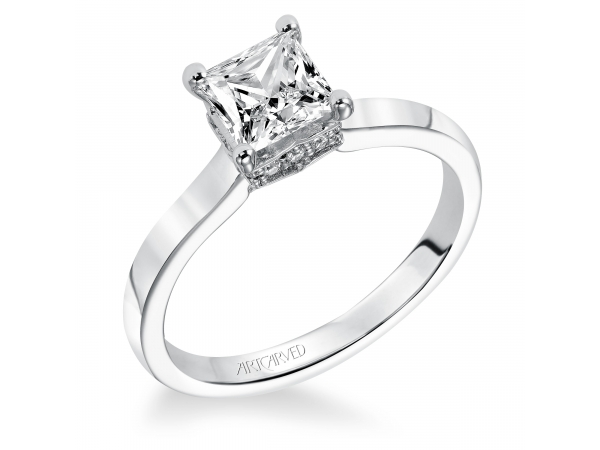 Taryn - Diamond solitaire engagement ring with princess cut center stone and pave set diamonds under the setting.