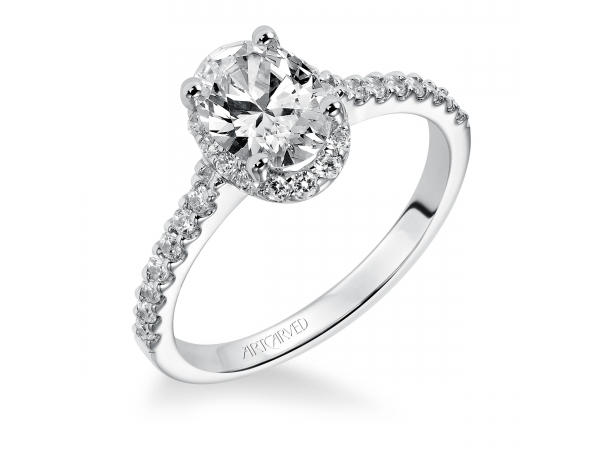 Kate - Diamond engagement ring with oval shaped center stone surrounded by round diamonds and a diamond enhanced band.