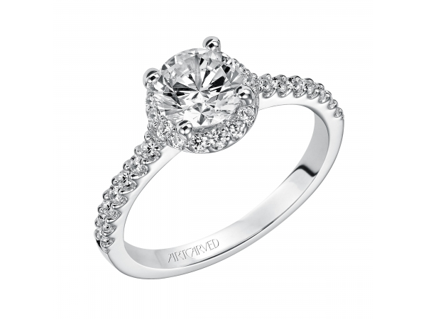 Layla - Diamond engagement ring with round center stone surrounded by round diamonds and a diamond enhanced band.