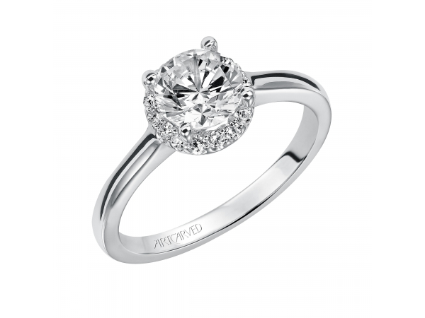 Allison - Diamond solitaire engagement ring with round center stone surrounded by round diamonds and a polished band.