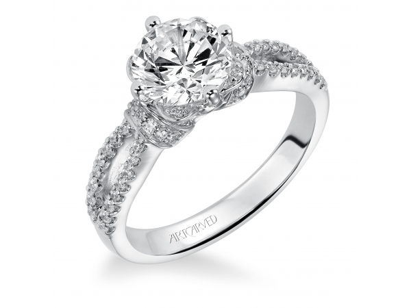 Phoebe - Diamond engagement ring featuring an exclusive ArtCarved setting, pave color and split shank band.