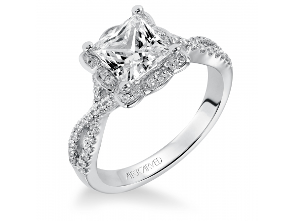 Leslie - Diamond engagement ring with halo and open twist diamond band.