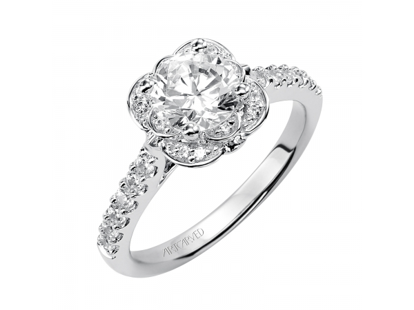 Skyler - Diamond engagement ring featuring an exclusive ArtCarved setting with prong set side diamonds and pave band.