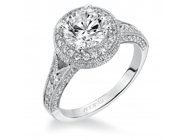 Daniella - Diamond engagement ring featuring a diamond halo and diamond enhanced band with milgrain.