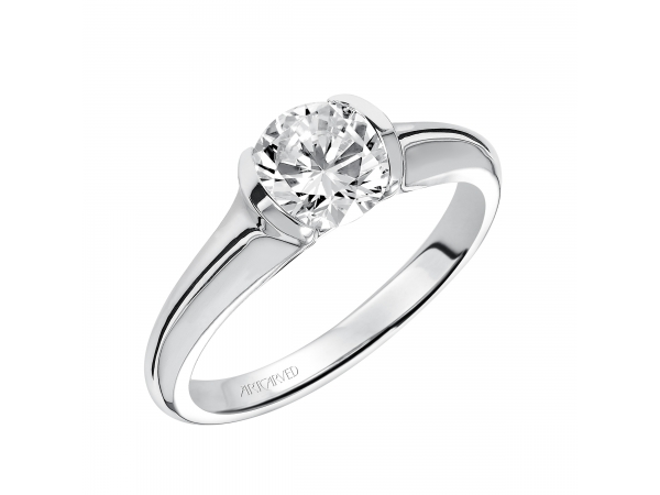 April - Half bezel solitaire engagement ring with polished shank.