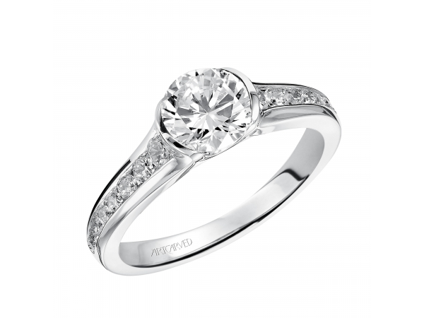 Carina - Half bezel engagement ring with channel set diamond band.