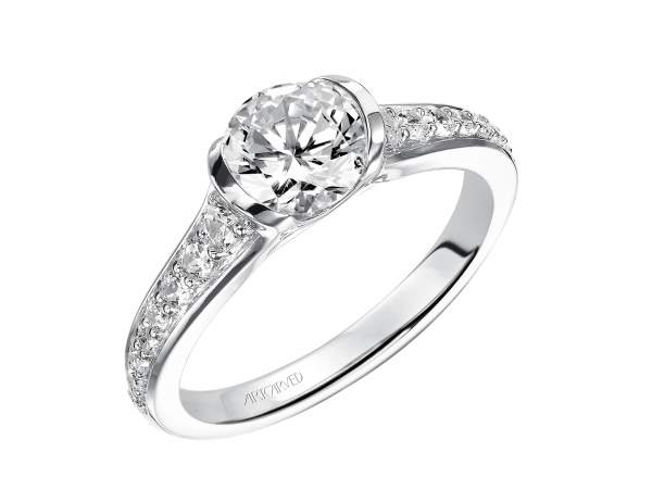 Brynn - Half bezel engagement ring with diamond band.