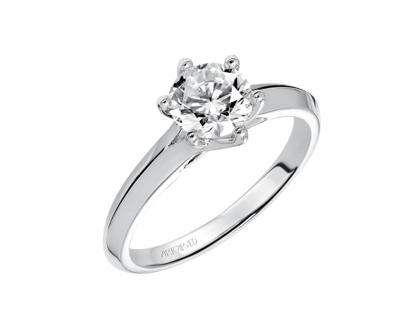 Stacy - Six prong solitaire engagement ring with polished knife edge band.