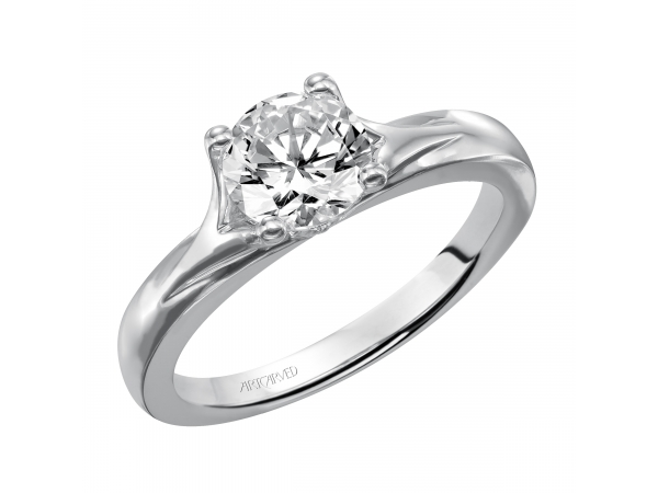 Monica - Solitaire engagement ring with polished band.