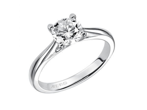 Lindsey - Solitaire engagement ring with polished band.
