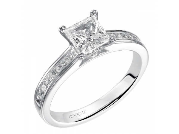 Geraldine - Princess cut engagement ring with channel set diamond band.