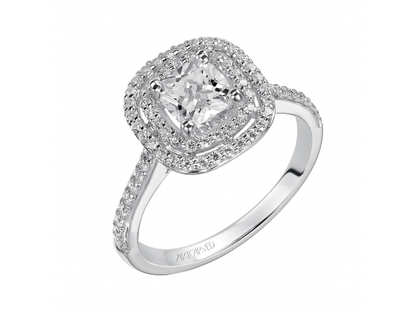 Tara - Cushion cut engagement ring with double halo diamond band.